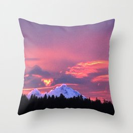 Sky is on fire in Sisters Oregon Throw Pillow