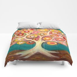 Tree of life with colorful abstract circles Comforters