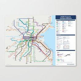 Dublin Frequent Transport Map - Complete Canvas Print