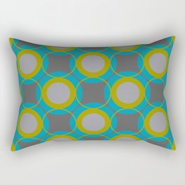 Contemporary Circle Pattern Retro Background Gray Turquoise Chartreuse Rectangular Pillow