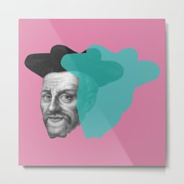 Francois Rabelais portrait - pink and blue green Metal Print