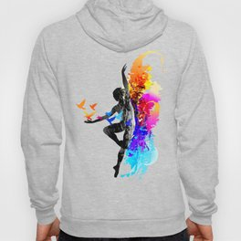 Ballet dancer dancing with flying birds Hoody