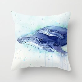 Humpback Whale Watercolor Mom and Baby Painting Whales Sea Creatures Throw Pillow