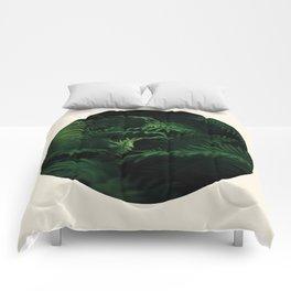 Fern Plant Against Black Background Round Frame Photo Comforters
