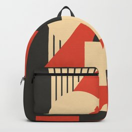 Geometrical abstract art deco mash-up scarlet beige Backpack