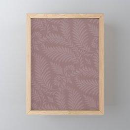 Pantone Red Pear Fancy Leaves Scroll Damask Pattern Framed Mini Art Print