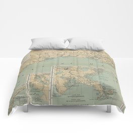 Vintage US Gulf of Mexico Lighthouse Map (1898) Comforters