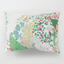 Painterly Floral Jungle on Pink and White Pillow Sham