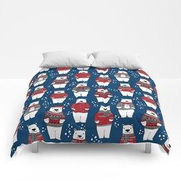 Polar Bear character cute christmas sweater polar bears nature illustration pattern Comforters