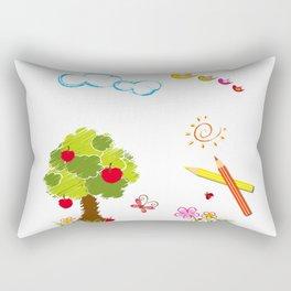 Apple Tree and Birds Rectangular Pillow