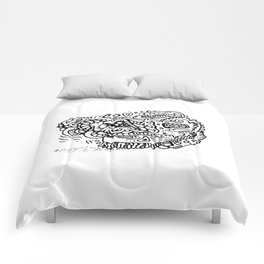 Going Places abstract creature doodle Comforters