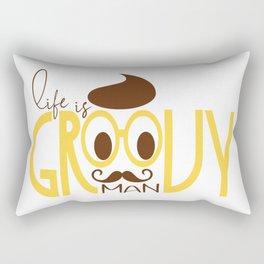 Typography Print Life is Groovy Man Hipster Eyeglasses Mustache Rectangular Pillow