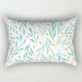 Leaves and Berries #2 | Green and Orange Palette Rectangular Pillow