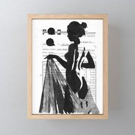 Emma pure black and white Framed Mini Art Print