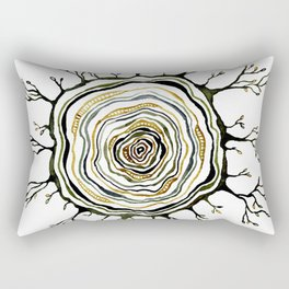 Watercolor Tree Ring Roots Rectangular Pillow