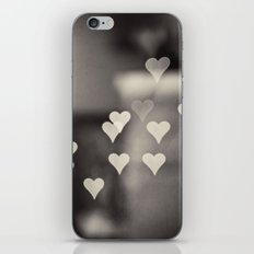 Hearts Abstract Photography, Black and White Love Heart Art Print iPhone & iPod Skin
