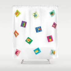 Fruit Stamps Shower Curtain