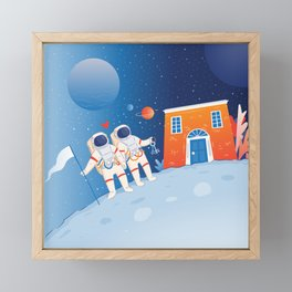 Astronaut couple buying a house in the Moon Framed Mini Art Print