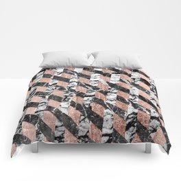 Modern Black and White Marble Rose Gold Crisscross Comforters