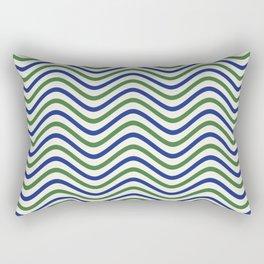 The Wave:  Blue + Green Rectangular Pillow