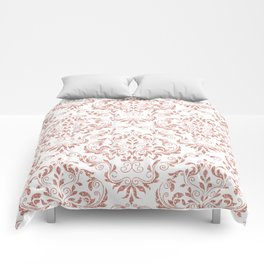 Rose Gold Glitter and White Damask Comforters