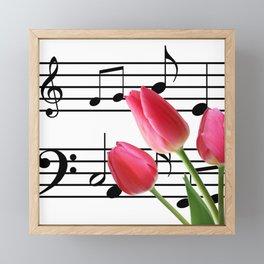 Music Sheet & Tulip Flowers Framed Mini Art Print