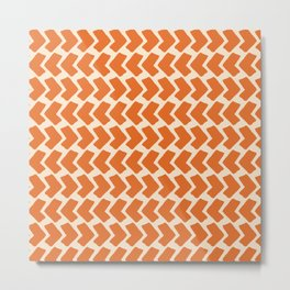 Orange Geometric Pattern Retro Print Metal Print