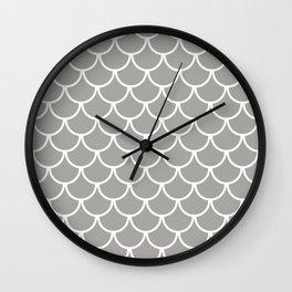 Grey Fish Scales Pattern Wall Clock