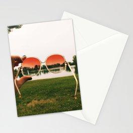 Digital photo color photography pink sunglasses hippie boho bohemian lake nature wood grass Stationery Cards