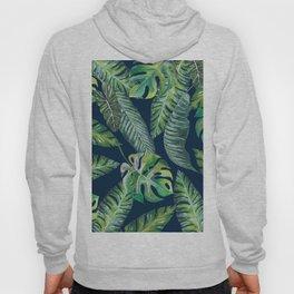 Jungle Leaves, Banana, Monstera, Blue Hoody