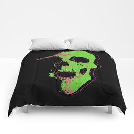 Skull - Lime Comforters