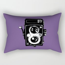 Big Vintage Camera Love - Black on Purple Background Rectangular Pillow