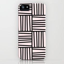 Bold Graphic Memphis Pattern, Black & Pink Blocks & Lines iPhone Case