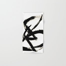 Brushstroke 3 - a simple black and white ink design Hand & Bath Towel