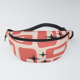 Retro Mid Century Modern Abstract Pattern 577 Red Black Fanny Pack