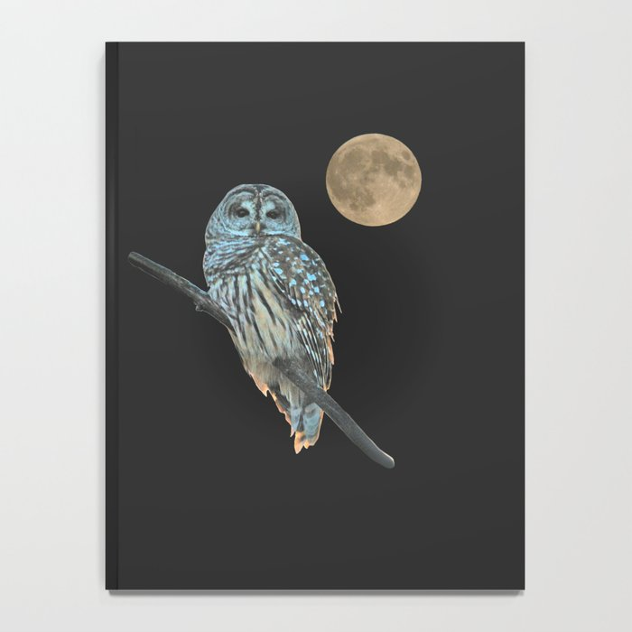 Owl, See the Moon (sq Barred Owl) Notebook