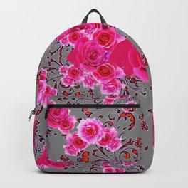 GREY &  CERISE PINK ROSES BROCADE PATTERN ART Backpack