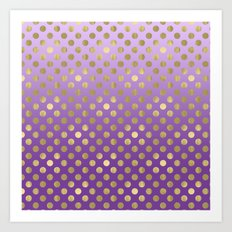 Purple Ombre Gold Dots Art Print