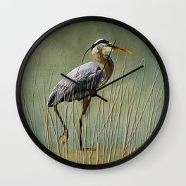 Great Blue At The Beach Wall Clock