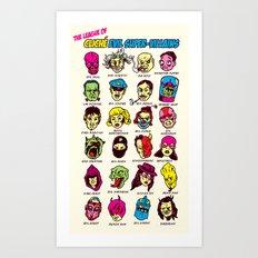 The League of Cliché Evil Super-Villains Art Print