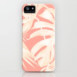 Tropical Coral Pink Palm Leaf Pattern iPhone Case