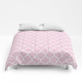 Pink quatrefoil Comforters