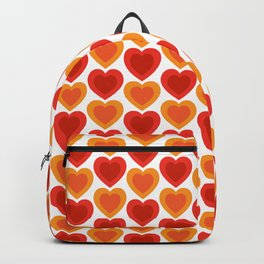 Mid-century Modern Hearts, Abstract Vintage Heart Pattern in Hot Red and Orange Color Backpack