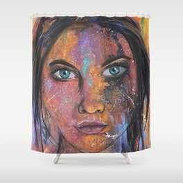 teal eyes Shower Curtain