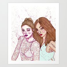 Gigi Hadid & Jourdan Dunn Maybelline NY   Art Print