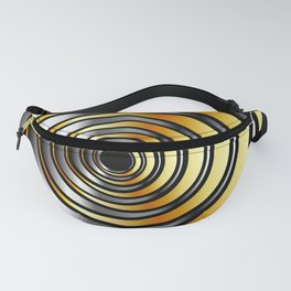 Concentric metallic rings in gold and silver-metallic texture artwork Fanny Pack