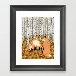 Fox family in the autumn forest Framed Art Print