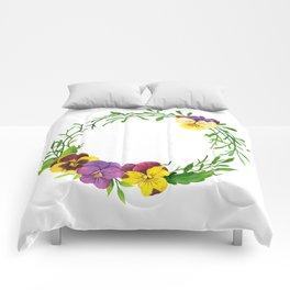 Watercolor pansies wreath Comforters