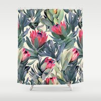 justice Shower Curtains featuring Painted Protea Pattern by micklyn
