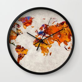 World Map 58 Wall Clock